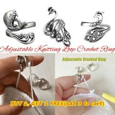 Ring Sewing Accessories Knitting Loop Crochet Ring Adjustable Thimble Ring US M