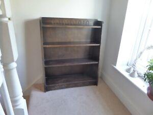 Vintage Oak Four Shelf Waterfall Bookcase