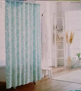 NEW Threshold Shower Curtain Green Botanical Floral White 100% Cotton Aqua
