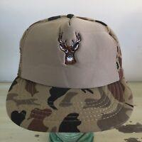 CAMO HAT - Vtg 80s NWOT Green Tan Deer Hunting SnapBack Trucker Camouflage Cap