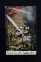 US Firefighting 1907 Illustrated Color Postcard with Stamp
