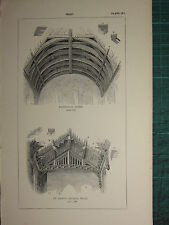 1845 ANTIQUE ARCHITECTURE PRINT ~ ROOF FARINGDON ~ ST MARY'S DEVIZES