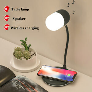 Qi Wireless Charging LED Desk Lamp Night Light with Bluetooth Speaker and Audio