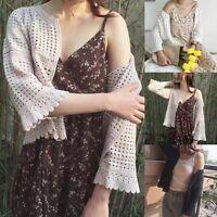 Summer Women Ladies Knitted Crochet Shrug Long Sleeve Loose Bolero Cardigan Tops