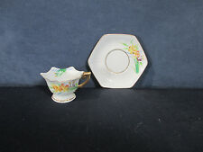 Miniature Tea Cup Saucer Vtg Occupied Japan Hand Painted Daffodil Doll Size