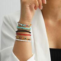 7Pcs bunte kleine Perlen Bohemia Armreif elastisches Armband Set Schmuck AcceXUI