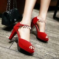 Women's Ankle Strap High Heels Peep Toe Sandals Beaded Buckle Casual Shoes New