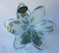 Genuine Italian Art Blown Glass Flower Murano GREEN WHITE  made in Italy No 719
