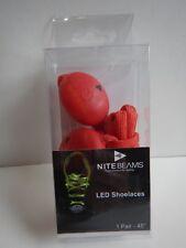 """Nite Beams LED Red Shoelaces 45"""" Light Up Unisex NIB!"""