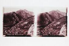 Corse La Restonica Plaque verre STEREO Positif 6x13cm Vintage