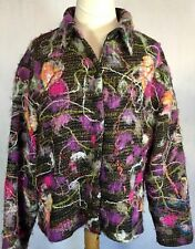 Chico's Woman's Rare HTF Size 16 Textured Multi Color Vintage Shimmery Blazer