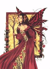 Postcard Amy Brown Gothic Fairy QUEEN MAB & POPPIES 2001 Art Print Collectable