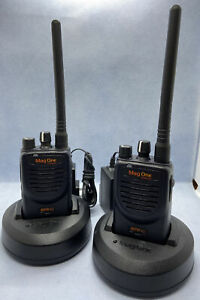 Pair Of Working Tested Motorola Mag One BPR40 8 Ch VHF Radios W/Chargers