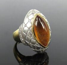 18K White & Yellow Gold Checkers Ring Vintage Oro Trend 0.40ct Diamond & Amber