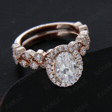 2.00 ct Oval Shape Diamond 10k Rose Gold Halo Bridal Set Engagement Ring