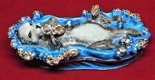 Nature Themed Sea Otter Enameled Hinged Collector or Trinket Jewelry/Ring Box