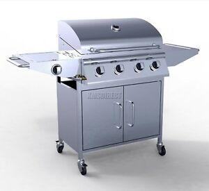 HEATSURE 4 Burner BBQ Gas Grill Stainless Steel Barbecue + 1 Side Outdoor New