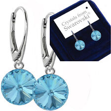 925 Sterling Silver Dangle Earrings Aquamarine 12 mm Crystals From Swarovski®