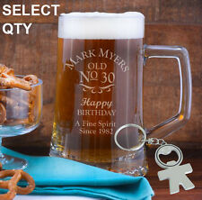 Personalised Engraved 500ml Beer Mug Tankard Birthday Glass 18th 21st 30th 50th