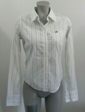 Hollister White & Green Striped Button Down Collared Shirt Top Size Jrs L
