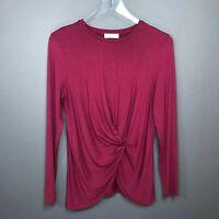 Aritzia Babaton Soft Faux Wrap Stretch Knit Blouse Top Size M