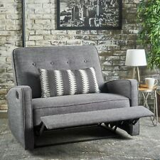 Callade Contemporary Button Tufted Upholstered Loveseat Recliner w/ Tonal Piping