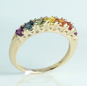 R302 Genuine 9K, 10K, 18K Real Gold Natural Rainbow Sapphire Pride Eternity Ring