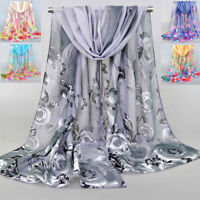 Ladies Chiffon Rose Flowers Feather Printed Scarf Shawl Soft Scarves Multicolor