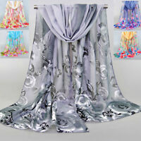Women Chiffon Rose Flowers Feather Printed Scarf Shawl Long Soft Wrap Scarves