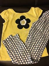 GYMBOREE Daisy short sleeve top Leggings outfit set size 7