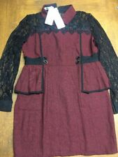 Qiaotianshi Long Sleeve Dress in Crimson and Black Lace Detail Size M