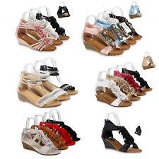 Damen Keilsandaletten Fransen Sandaletten Wedges Keil Absatz 811638 Schuhe