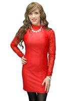 Red Mini Evelyn Dress with Lace Long Sleeves Crossdressers Transgenders XS - 4XL
