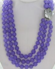 "lavender round jade beads necklace & shell flower clasp 3row 21""-23"" 8mm"