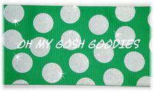 "3"" Glitter Jumbo Cheer Team Dots Green White Grosgrain Ribbon 4 Irish Hairbow"