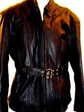VINTAGE BLACK GENUINE LEATHER BIKER JACKET W/BELT SIZE XXXL