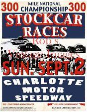 Nascar Racing Poster Charlotte 300 National Championship Stock Car Race 1950  L