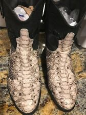 SAM EDELMAN Stevie Black Leather Snake Print Western Ankle Boots Sz 8M (KM)