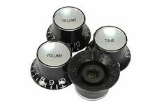 Bell Hat Knobs Black Silver Reflector for Import guitars 4pk