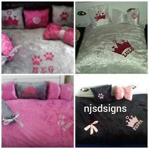 Pet Dog Cat Bed Soft 1x Cushion bed Base & 3 pillows full set small personalised