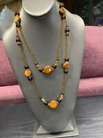Vintage Bohemian Two strand seed bead and gold Brown Amber beaded necklace 26""