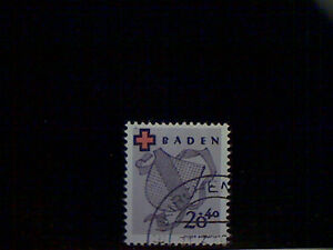 Stamps, Baden (Fr.Occ), Scott 5NB2, used(o), Arms of Baden, (20+40pf), lilac
