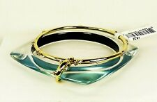ALEXIS BITTAR  Gold Plated Teal Lucite & Crystal Set of Two Bracelets