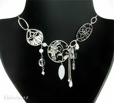 Danish PILGRIM Necklace Vintage Silver/White ART DECO NOUVEAU Flower BNWT