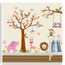 Animal Wall Stickers Owl Jungle Zoo Tree Baby Nursery Bedroom Decals Mural Art