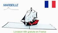 Bateau de pirate-carte pop up 3D «MARSEILLE» voeux voyage