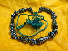 Beautiful Vintage Indian Mosaic Turquoise Necklace with Dyed Cord & Gold Thread