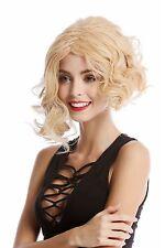 Perücke Damenperücke kurz schulterlang wild gelockt asymmetrisch Blond Mix hell