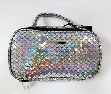 NEW KENSIE HOME SILVER IRIDESCENT FISH SCALE PRINT NYLON,ZIP,POUCH,COSMETIC BAG