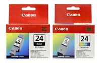 Canon BCI-24 Black & Tri-Color Ink Cartridge Combo 6881A003 6882A003 Genuine New